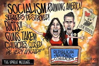 Political Cartoon U.S. RNC Trump upbeat message
