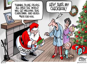 Political Cartoon U.S. Congress Covid stimulus Santa Claus