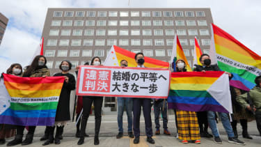 Supporters of same-sex marriage in Japan.