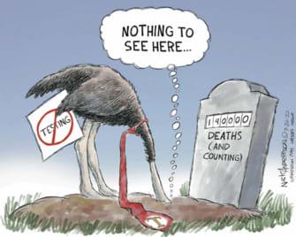Political Cartoon U.S. Trump ostrich coronavirus deaths