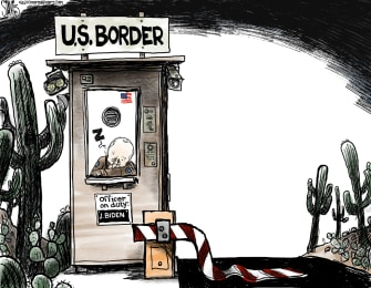 Political Cartoon U.S. biden mexico border