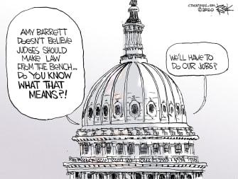 Political Cartoon U.S. Amy Barrett congress SCOTUS