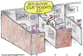 Editorial Cartoon U.S. bitcoin crypto currency is the norm