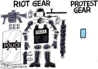 Editorial Cartoon U.S. Police riot protest gear