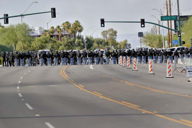 Phoenix police officers in riot gear on Tuesday.