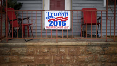 A Trump campaign sign.