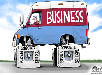Political Cartoon U.S. biden corporate taxes