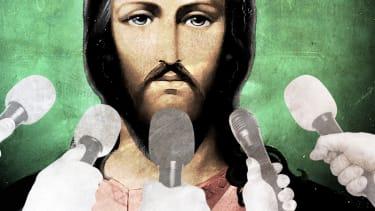 Jesus being interviewed.
