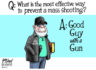 Political Cartoon U.S. Jack Wilson Good Guy With A Gun Defense
