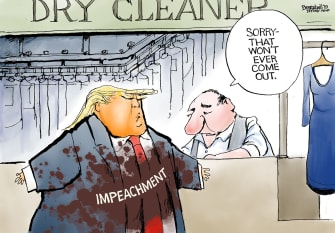 Political Cartoon U.S. Trump Impeachment Stain Dry Cleaning