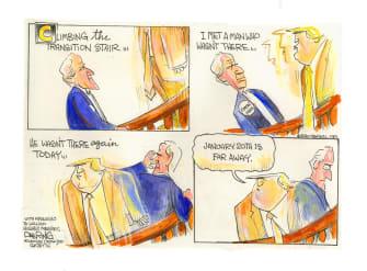 Political Cartoon U.S. Trump Biden transition