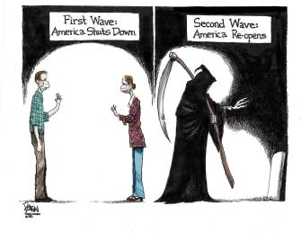 Editorial Cartoon U.S. coronavirus reopening second wave