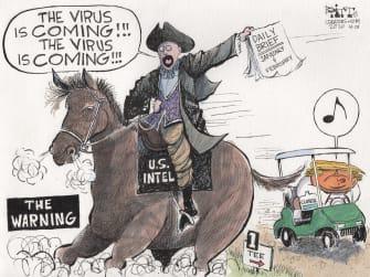 Political Cartoon U.S. Trump daily briefings coronavirus
