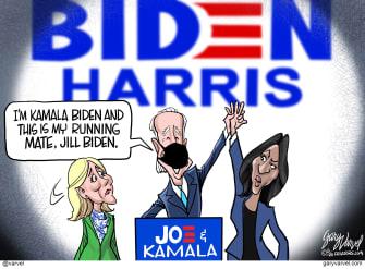 Political Cartoon U.S. Joe Biden Kamala Harris Vice President Gaffe Jill Biden