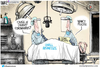 Political Cartoon U.S. small business relief nancy pelosi