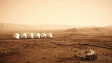 """An illustration of Mars One's proposed human settlement: The newly created group sees the Red Planet as the """"Plymouth Rock"""" of our near future."""