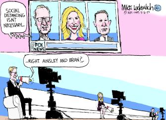 Editorial Cartoon U.S. Fox and Friends social distancing