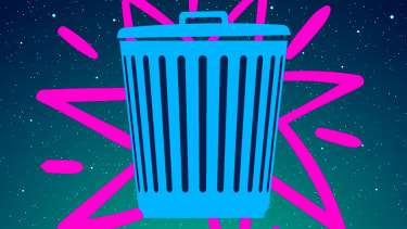 Garbage and the Statue of Liberty.