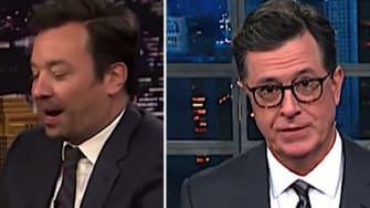 Jimmy Fallon and Pete Buttigieg, and Stephen Colbert, mock Trump