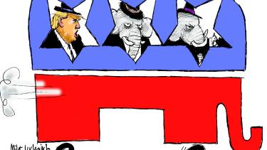 Political Cartoon U.S GOP impeachment getaway car