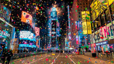 The muted New Year's celebration in Times Square.