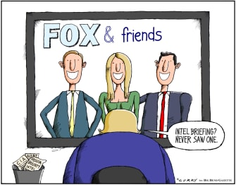 Political Cartoon U.S. Trump Russian bounty intel