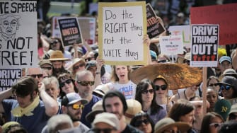 Anti-white supremacist protesters in Berkeley.