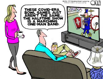 Editorial Cartoon U.S. COVID college football bowl games