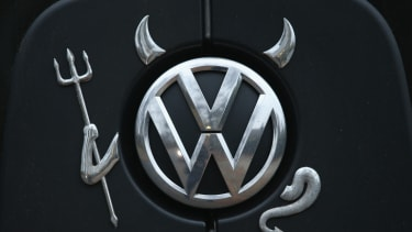 A VW logo dressed up to look evil