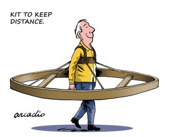 Editorial Cartoon U.S. social distance kit stay home