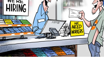 Editorial Cartoon U.S. unemployment benefits hiring