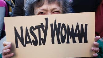 A Women's March protester in NYC