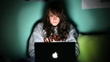 California high school student, Ellie Ritter, talks to her friends through Facebook