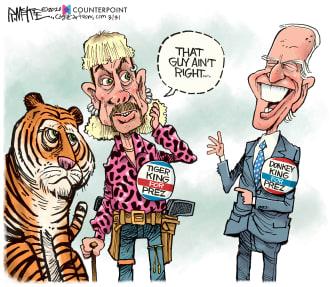 Political Cartoon U.S. Tiger King Joe Biden not electable 2020 election