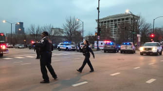 Police officers outside of Mercy Hospital in Chicago.