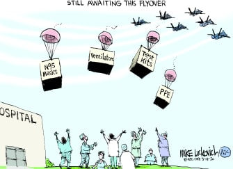 Editorial Cartoon U.S. flyover PPE doctors coronavirus
