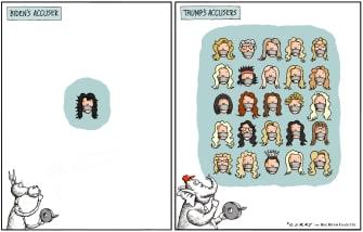 Political Cartoon U.S. Biden Trump Tara Reade accusers