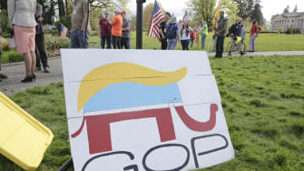 A GOP logo sign