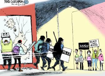 Editorial Cartoon U.S. George Floyd protests police response