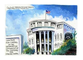 Political Cartoon U.S. Trump White House CDC COVID