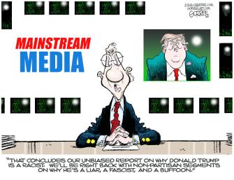 Political Cartoon U.S. Trump mainstream media