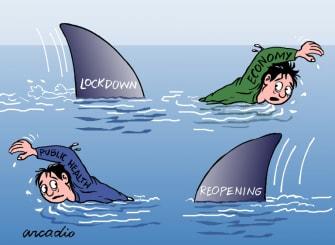 Editorial Cartoon World coronavirus reopening risks