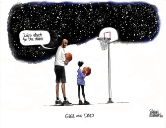 Editorial Cartoon U.S. Kobe Gigi RIP playing basketball shooting to stars