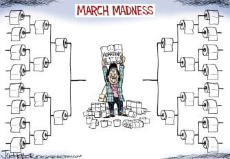 Editorial Cartoon U.S. March Madness toilet paper hoarding