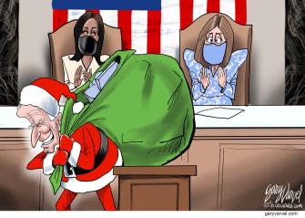 Political Cartoon U.S. biden address debt