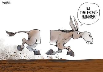 Political Cartoon U.S. DNC Democrats Joe Biden Bernie Sanders frontrunner horse race severed