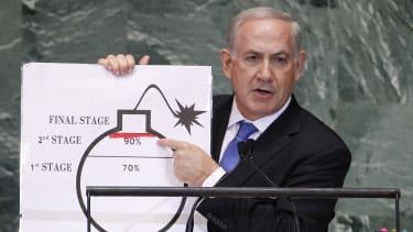 Israeli Prime Minister Benjamin Netanyahu speaks to the UN in 2012.