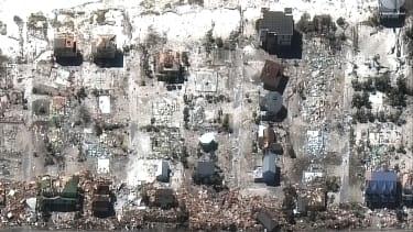 Devastated houses.