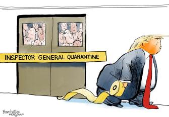 Political Cartoon U.S. Trump fires Inspector General Atkinson quarantine administration