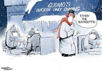 Political Cartoon U.S. Andrew Cuomo COVID outdoor dining